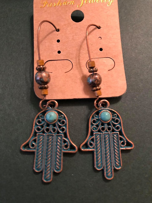 Antique Copper Hamsa Symbol Earrings