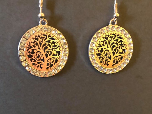 Rose Gold Round Tree of Life Earrings