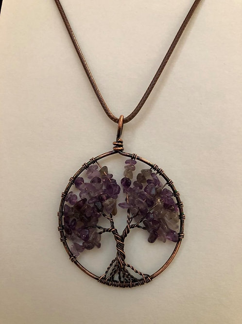 Round Amethyst Antique Tree of Life Pendant