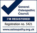 General Osteopathic Council I'm Registered no. 5421