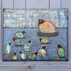 Fledgling Birds Folk Art Painting