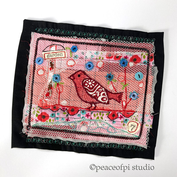 House Finch Embroidery Quilt
