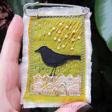 Blackbird in the Rain Brooch
