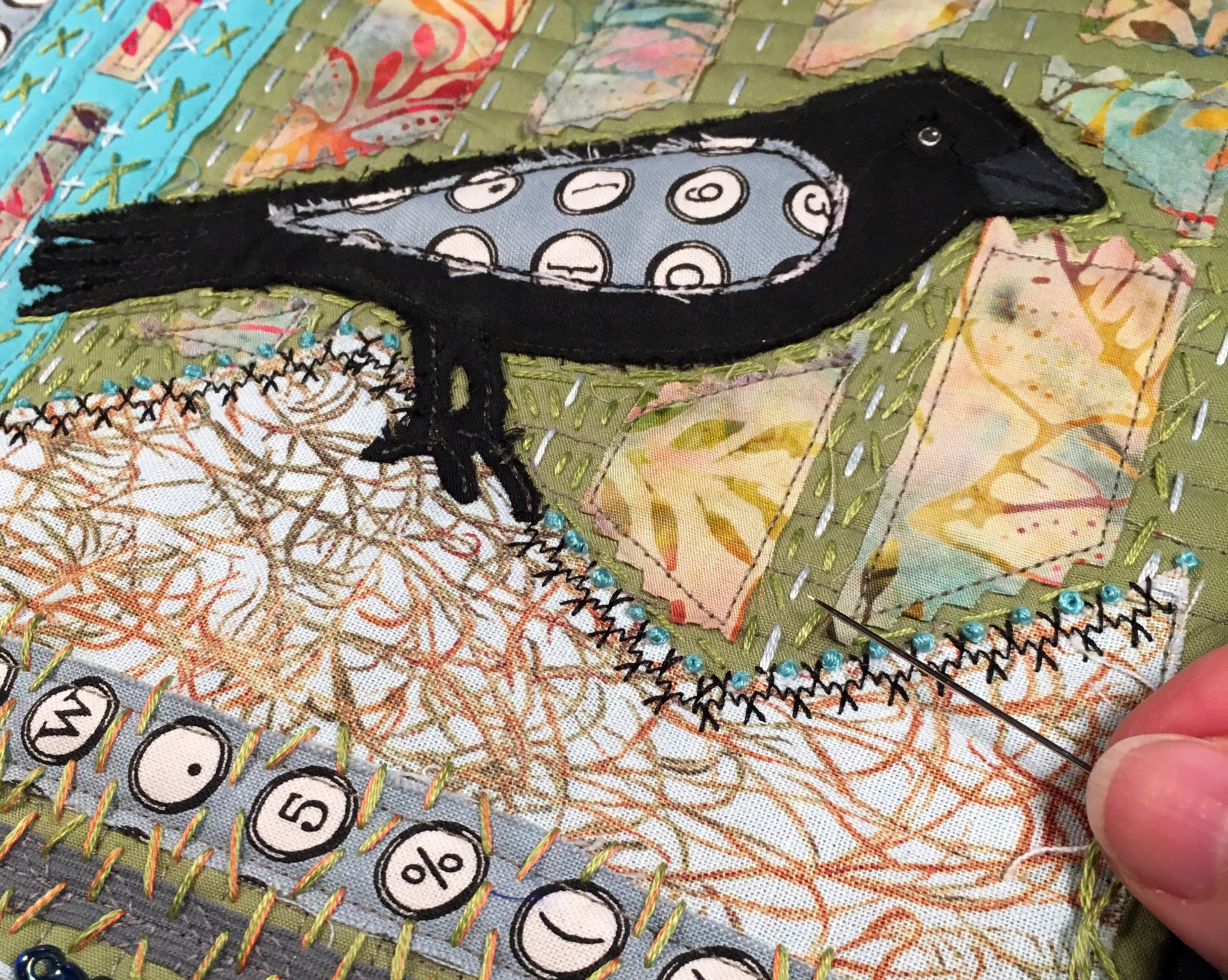 Black Bird Quilt Close Up