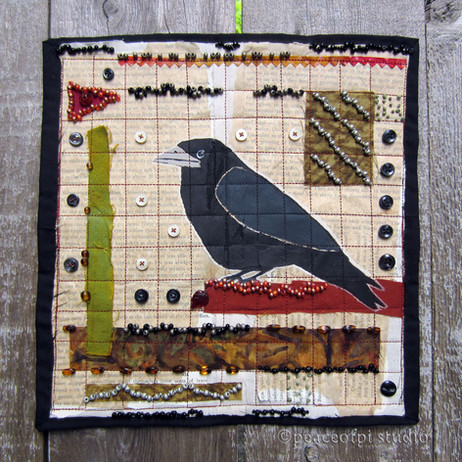 Corvid stitched collage
