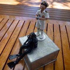 scuba diving bride, custom made wedding cake topper