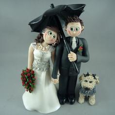 custom made wedding cake topper with dog and umbrella
