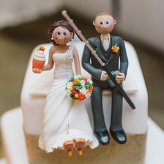 custom made fishing wedding cake topper