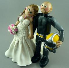 Diving wedding cake topper