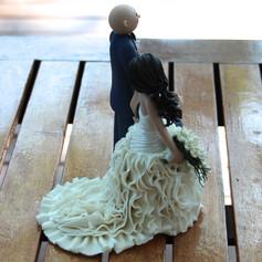 Side view, custom made wedding cake topper