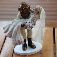 Diver wedding cake topper
