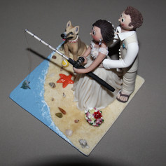 beach and fishing custom made wedding cake topper with dog