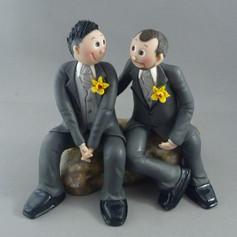 gay groom and groom custom made wedding cake topper
