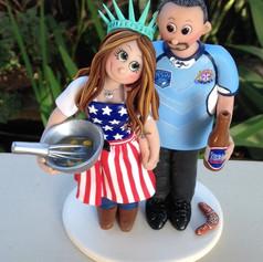 American baking bride with Australian groom wedding cake topper