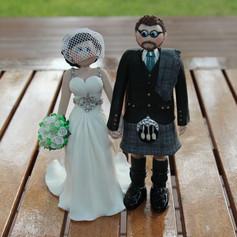 Groom in kilt wedding cake topper