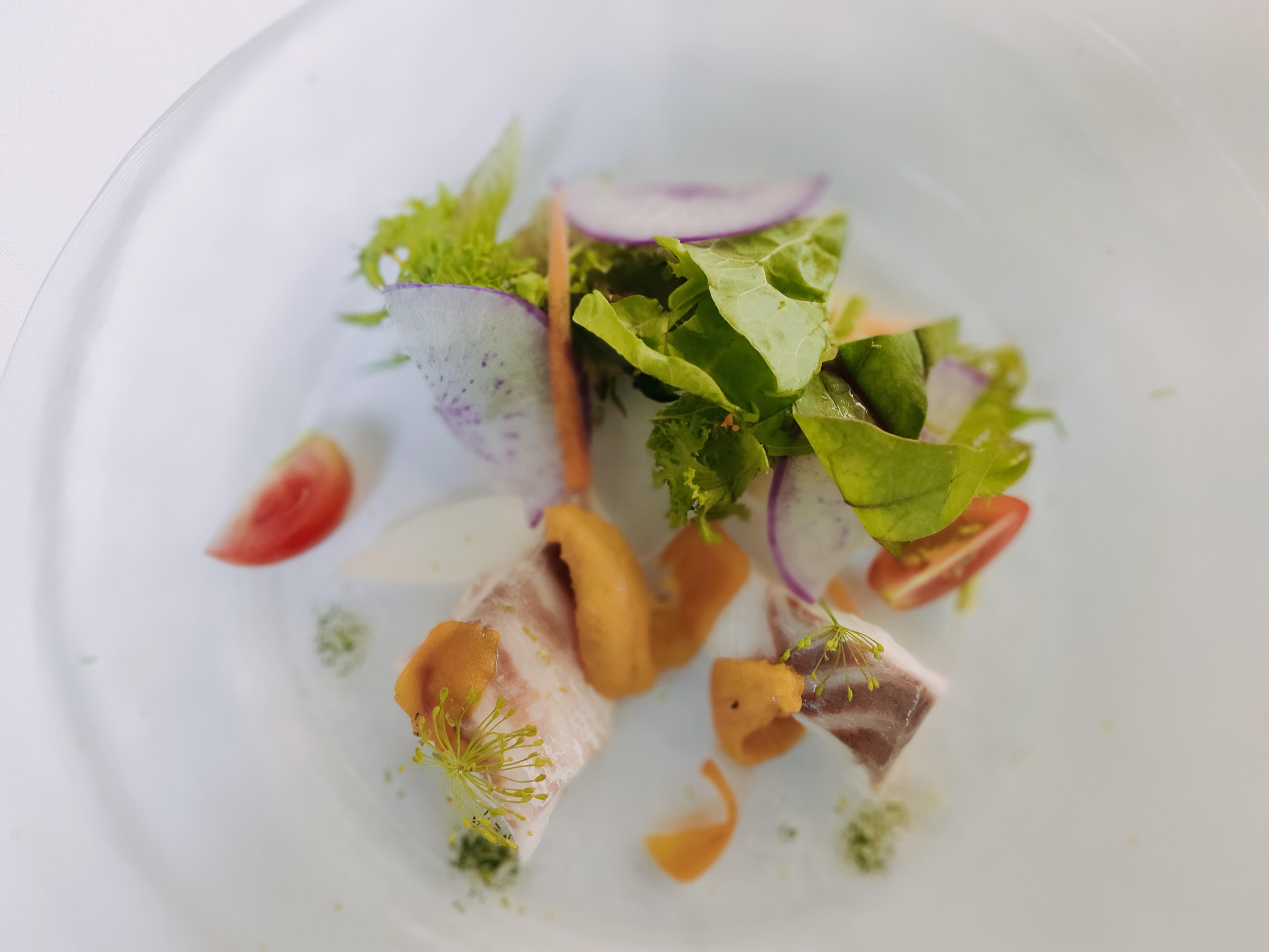 鮮魚のヴァポーレ むかし野菜を添えて