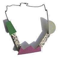 Kinetic necklace - Nettle green, Purple Glow, Yellow Shimmer
