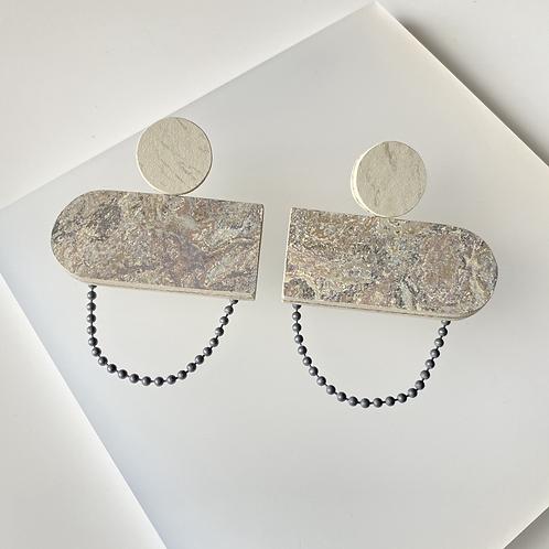 Oblong chain earrings - Storm/Polar Bear