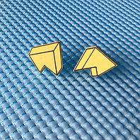 3D jagged stud earrings - Yellow Glow