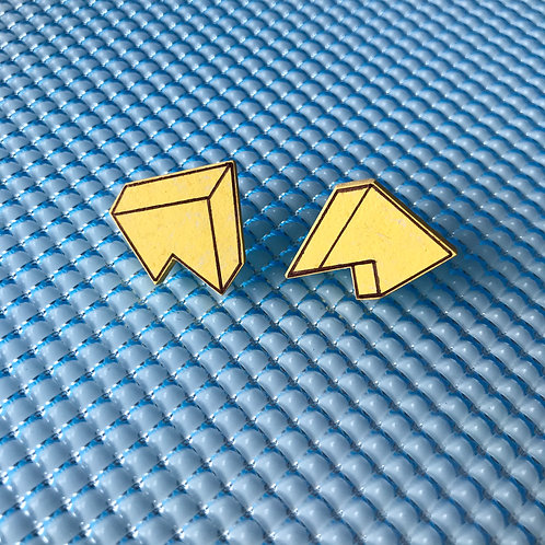 3D Jagged stud earrings - Yellow Glow