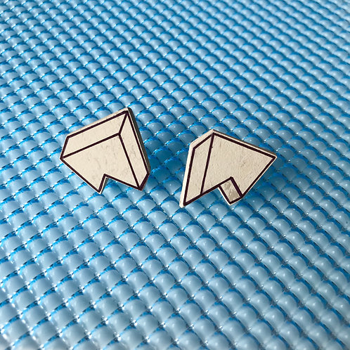 3D Jagged stud earrings - Polar Bear
