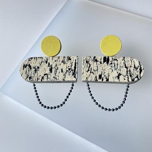 Oblong chain earrings - Print/Yellow Glow