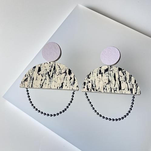 Semicircle chain earrings - Print/Lilac