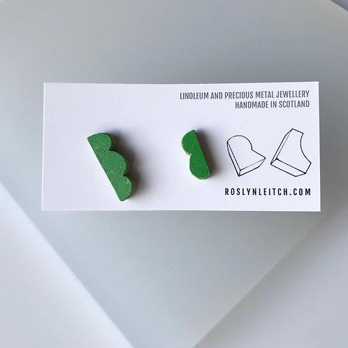 Lumpy stud earrings - Nettle Green