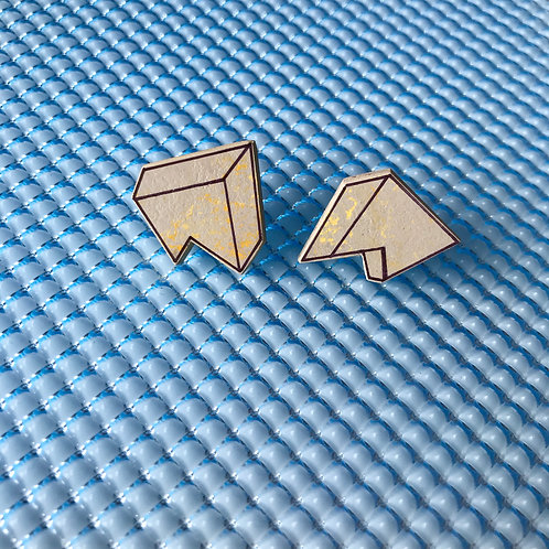 3D Jagged stud earrings - Yellow Shimmer