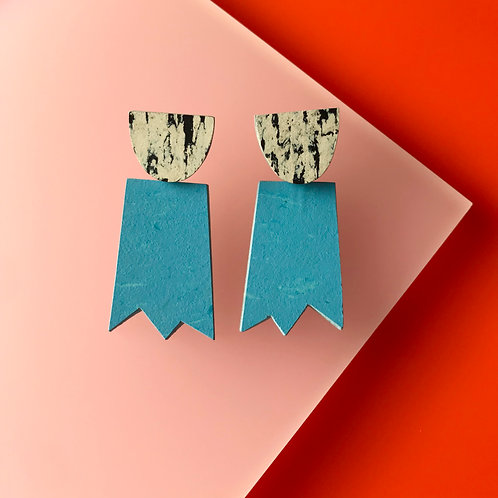 Ghost earrings - Nordic Blue/Print