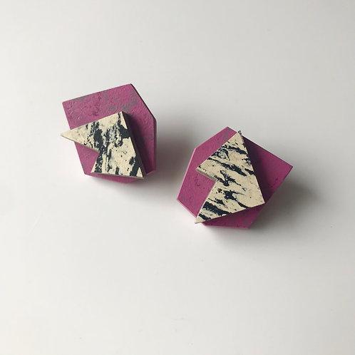 Pop earrings - Purple Glow/Print