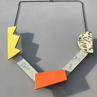 Kinetic necklace - Yellow Glow, Orange Glow, Print