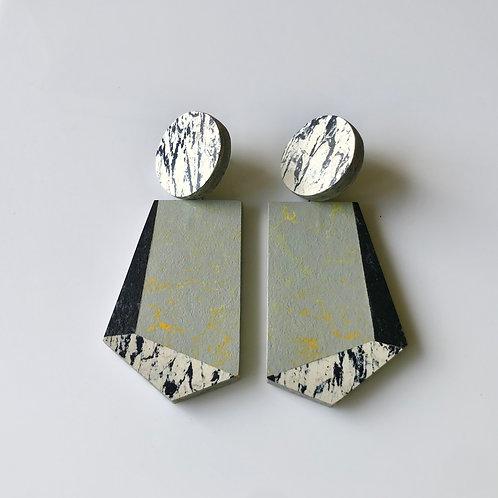 Knocker earrings - Yellow Shimmer/Almost Dark/Print
