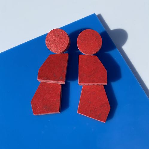 Scale earrings - Red Glow