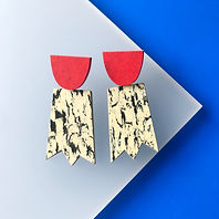 Ghost earrings - Print, Red Glow