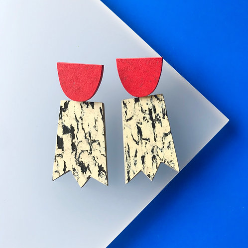 Ghost earrings - Print/Red Glow