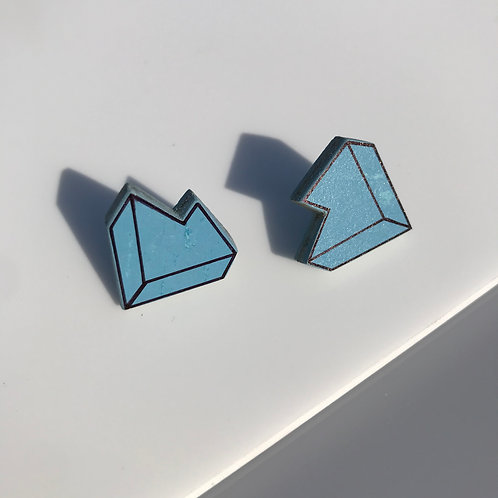 3D Jagged stud earrings - Nordic Blue