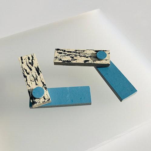 Obtuse earrings - Nordic Blue/Print