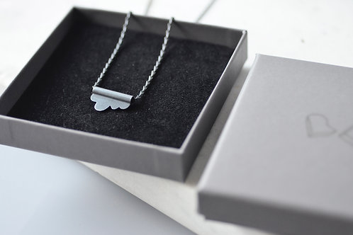 Oxidised sterling silver cloud tubular pendant and barleycorn chain.