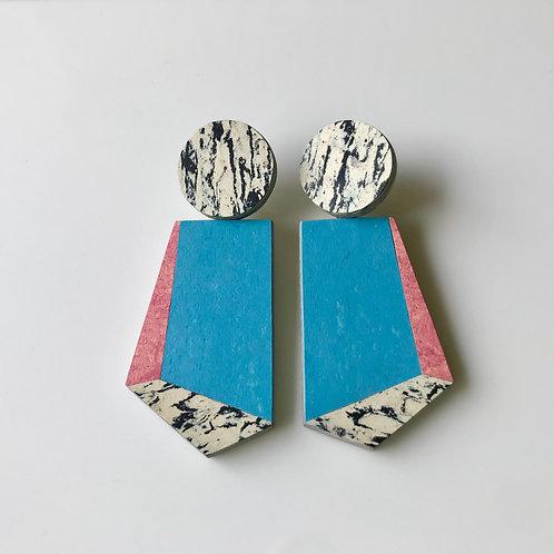 Knocker earrings - Nordic Blue/Honeysuckle/Print