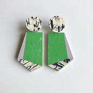 Knocker earrings - Nettle Green, Lilac, Print