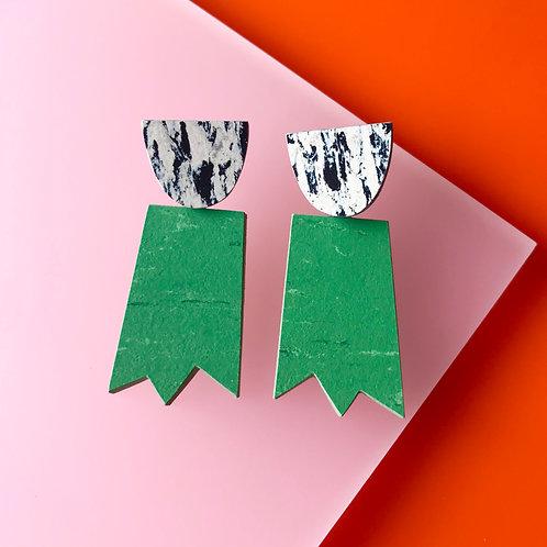 Ghost earrings - Nettle Green/Print
