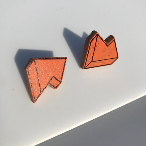 3D Jagged stud earrings - Orange Glow