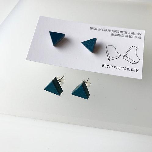Tri-trangle stud earrings - Petrol