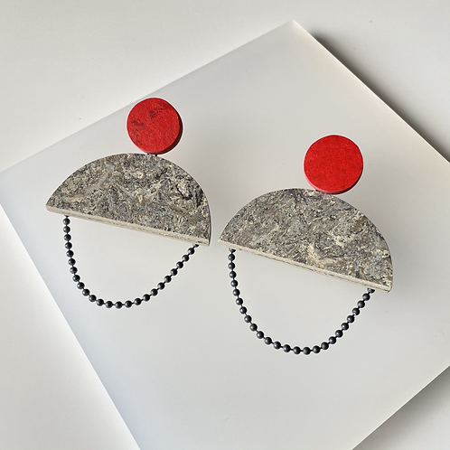 Semicircle chain earrings - Storm/Red Glow