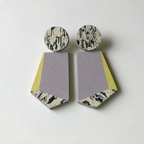 Knocker earrings - Lilac/Yellow Glow/Print