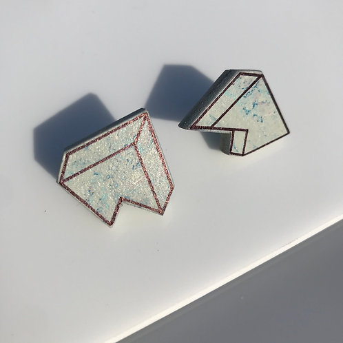 3D Jagged stud earrings - Bluemoon