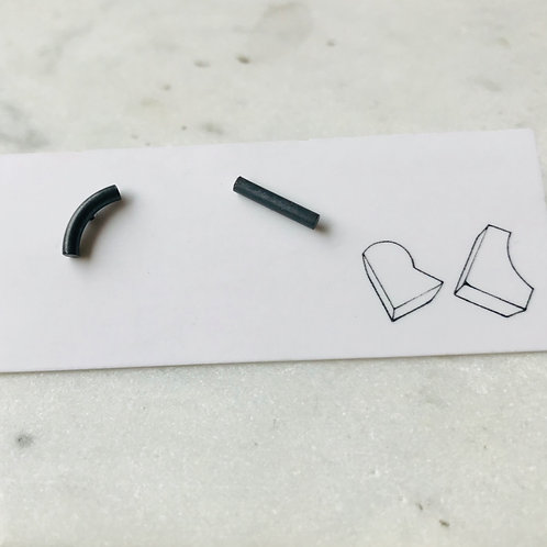 Rod earrings - oxidised sterling silver