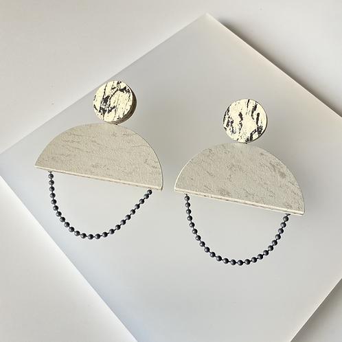 Semicircle chain earrings - Polar Bear/Print