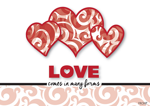 "Singles Awareness Day Card 12 pack ""Love"" design"